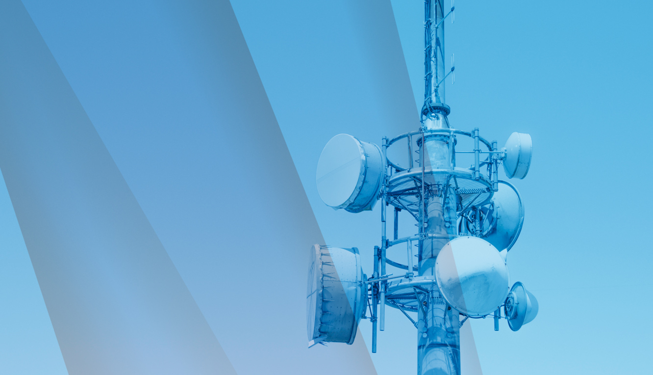 Radio tower with blue graphic overlay